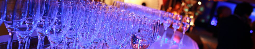 cocktail functions in canberra, cocktail party, rows of empty glasses, event management ACT, events in Australia, where to host a cocktail party in canberra